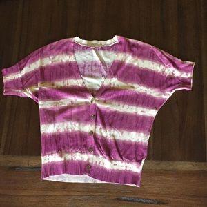 Loft Short Sleeve Cardigan, Purple and White, L